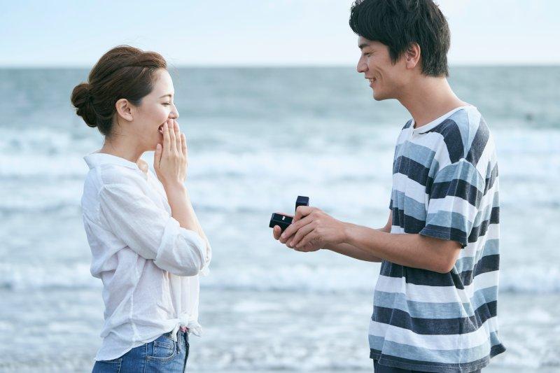 波打ち際でプロポーズをする男女