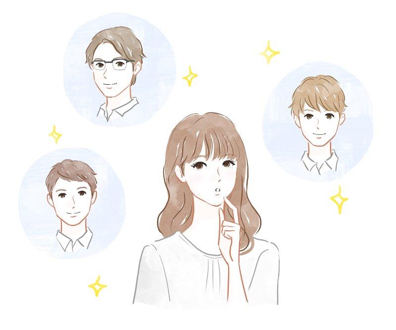 中心に女性の似顔絵がありまわりに3人の男性の似顔絵が書いてある
