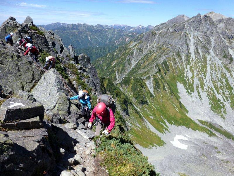 岩山を登山している人々