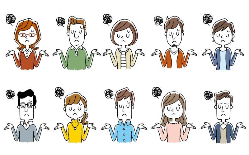 お手上げ状態の男女6名のイラスト